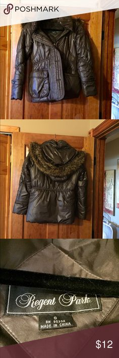 Brown puffer jacket Brown puffer jacket. Purchased from a boutique. Has hood with faux fur. Front zipper and buttons. Shorter length. Excellent condition! Regent Park Jackets & Coats