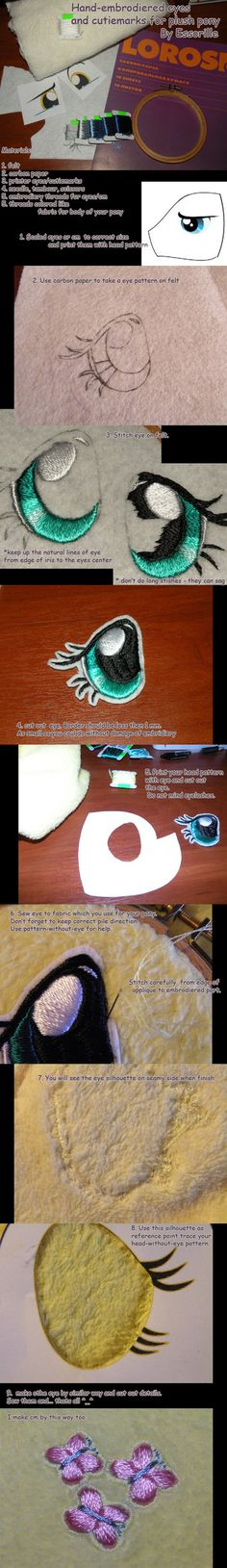 hand-embroidered plush eyes tutorial by *Essorille , How to Embroider My Little Pony Eyes, My Little Pony Plushie Tutorial , Animal Plushies, Softies & Furries Arts and Crafts, My Little Pony Patterns for Fan Art Diy Projects, My Little Pony Sewing Template for Majesty Unicorn , pony, ponies, pattern, template, sewing, diy , crafts, kawaii, MIP