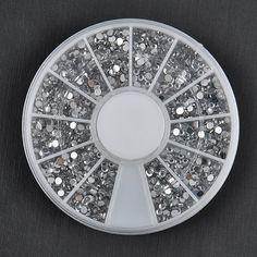 1700 PCS 1.5mm 3D Diy Nail Rhinestones Glitter Diamond Gems Nail Tips Nail Art Beauty Decoration Wheel NA997