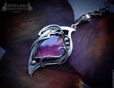 """Купить Серебряный кулон """"Astrid"""" - фиолетовый, кулон с аметистом, аметист натуральный, подвеска с аметистом"""