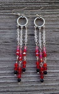 New Handmade Long Silver Earrings w/ Black,Red&Pink Ombre Colored Crystals  | eBay