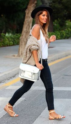 fedora + oversized cardigan + skinny jeans + cambridge satchel
