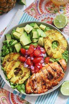 Sriracha Lime Chicken Chopped Salad with Grilled Pineapple and Avocado