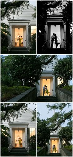 romantic silhouette photos from intimate surprise vow renewal at small church