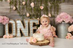 South Jersey Photographer: K Artocin Photography | 1st Birthday cake smash, girl, pink, flower, wood