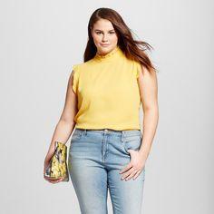 Women's Plus Size Ruffle Trim Shell Yellow 4X - Who What Wear