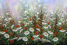 Ladybird & Daisies by Jordan Hicks, Acrylic on Canvas, Painting | Koyman Galleries