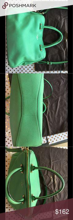 Spring green Kate Spade Crossbody bag Spring green Kate spade bag. Silver hardware.  Measures 9.5 inches x 12 inches x 4 inches.  Handle drop is 5 inches.  Crossbody handle is adjustable.  All handles are in great condition. EUC kate spade Bags Crossbody Bags