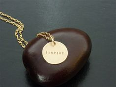 INSPIRE Charm Necklace in Gold fill by mfrancesjewelry on Etsy, $55.00