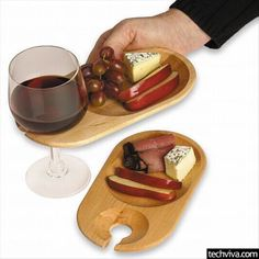 Wine and Dine Appetizer Individual Tray with Wine Glass Holder