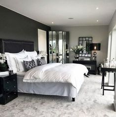 gray Bedroom Dark Grey And Silver Master Bedroom Ideas Tips On Purchasing A Commercial Dark Master Bedroom, Relaxing Master Bedroom, Master Bedroom Makeover, Master Bedroom Design, Home Decor Bedroom, Modern Bedroom, Bedroom Ideas, Contemporary Bedroom, Master Bedroom Furniture Ideas