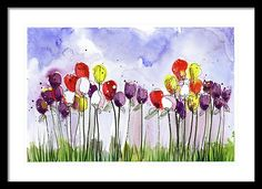 Tulips Framed Print featuring the painting Spring Tulips by Tonya Doughty
