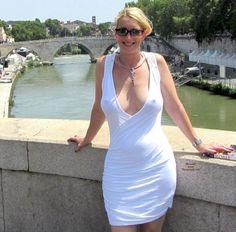 Hot Blonde Mom In White Dress No Bra #hotmom #nobra