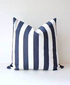 Striped Nautical Navy Blue Designer Pillow Cover by WhitlockandCo, $42.00