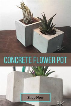 This is a nice design by BetonConcept. Great for #succulents and #cactus plants. Concrete Planters, Planter Pots, Flower Pots, Flowers, Cactus Plants, Cube, Succulents, Cool Designs, Etsy Seller