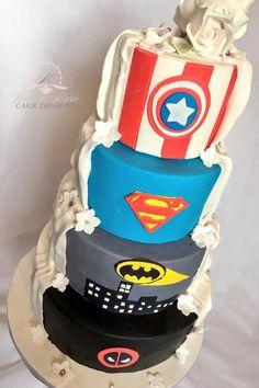 Marvel/DC Comics half and half Wedding Cake. - Visit to grab an amazing super hero shirt now on sale!