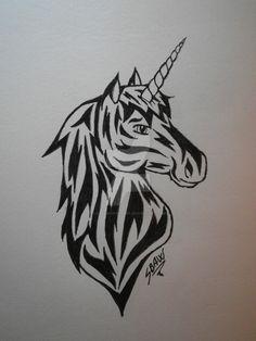 Unicorn tattoo design by Lostamongstars.deviantart.com on @DeviantArt