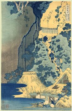 Hokusai (Waterfalls) Date: ca.1832 Oban, 9.5 by 15 inches Description: Kiyotaki Kannon waterfall at Sakanoshita. Series: Shokoku taki meguro Publisher: Eijudo