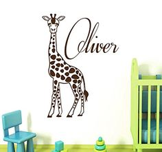 Wall Decals Vinyl Decal Sticker Monogram Custom Boy Personalized Name Animals Lover Giraffe Jungle Zoo Interior Design Bedroom Living Room Kids Nursery Baby Room Decor >>> You can find out more details at the link of the image. (Note:Amazon affiliate link)