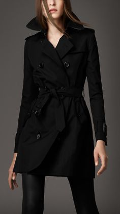 One Day - Mid-Length Technical Cotton Wide Cuff Trench Coat | Burberry Black