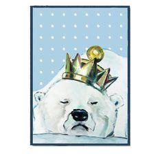 Kinderzimmer Poster Druck Eisbärkönig von PapierMond auf DaWanda.com