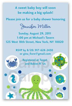 Under the sea baby shower invitations free templates invitations under the sea baby shower invitation under the sea baby shower invite sea animals baby boy printable a432 filmwisefo