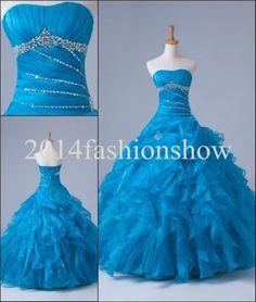 Blue Quinceanera Dresses Ruffle Beaded Prom Ball Pageant Dresses Sz 4 16 Custom | eBay