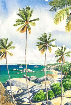Halcyon by Anne Miller, x watercolour print Watercolor Print, Watercolours, Caribbean, Boats, Sea, Painting, Ships, Painting Art, The Ocean