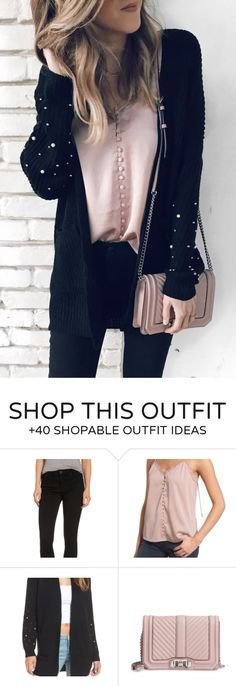 #fall #outfits women's black cardigan, pink sling bag, and pink blouse
