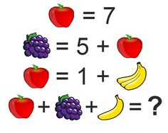 This puzzle is not that simple as you think. I bet, you just can't solve this fruit puzzle in one attempt. Of course, there is a trick behind this puzzle. Let's see you can if you can solve this puzzle. Brain Games, Math Games, Learning Activities, Kids Learning, Mind Puzzles, Logic Puzzles, Logic Problems, Apple Picture, Brain Teasers For Kids