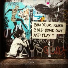 Can your inner child come out and play? - Can your inner child come out and play? Can your inner child come out and play? Graffiti Art, Urbane Kunst, Hieronymus Bosch, Illustrations, Inner Child, Outdoor Art, Public Art, Banksy, Urban Art