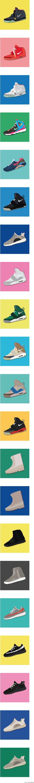 제가 작업해본 칸예 웨스트의 나이키와 아디다스 신발 입니다. Kanye west's collaboration shoes illustration.