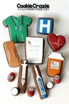 Medical Field Cookies - Scrubs, Syringe, prescription, medicine bottle, hospital.