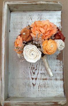 Hand Dyed Autumn Bride's Alternative Heirloom Wedding Bouquet - Sola Wood, Fabric, Wildflowers, Silk Flowers, Paper Hydrangeas. $82.00, via Etsy.
