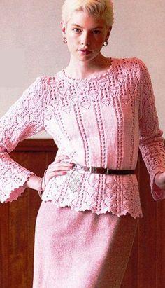 Knitting needles openwork pullover