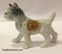 Vintage bone china French Bulldog in a standing pose. Side view.