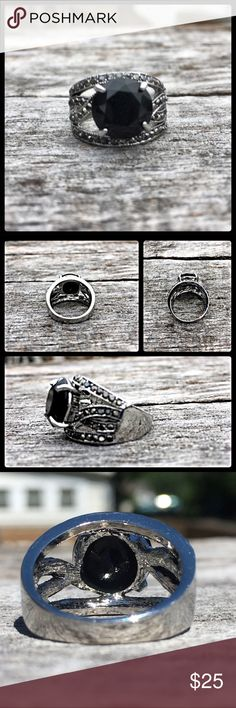 Restock! Wide Onyx Ring! NEW! Man made onyx is 1/2 inch tall and 1/2 inch wide. Band width approximately 5/8 inch wide in front and 1/4 inch wide in back. Surrounded by dark crystal stones at front. Unisex. Size 6. New from package. Boutique Accessories Jewelry