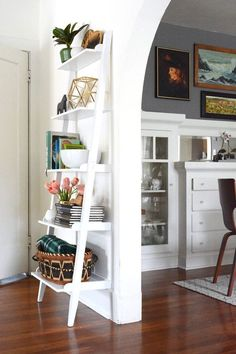 DIY Ladder Bookshelf An Easy Weekend Project The . Ladder Bookshelf And Desk Wood Ladder Bookcase Leaning . Home and Family Leaning Bookshelf, Ladder Bookshelf, Bookshelves, Leaning Shelf, Open Bookcase, Open Shelves, Glass Shelves, Wall Shelves, Living Room Ideas