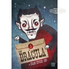 Bram Stoker's Dracula was one of my favorite characters growing up. (I was a vampire for 6 years in a row, long before all of this sparkling vampire nonsense.)  In the classic book from 1897, the story is told in a series of letters and diary entries, which is why my Dracula print is holding a ...