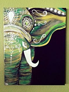 DIY your photo charms, compatible with Pandora bracelets. Make your gifts special. Emerald Green Bohemian Elephant by GypsyTwistArt on Etsy Elephant Love, Elephant Art, Diy Painting, Painting & Drawing, Painting Inspiration, Art Inspo, Design Lotus, Amazing Art, Awesome Paintings