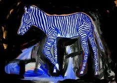 Blue zebra, painting by Lopéz García  In Blue zebra, García adopted his own visual expression and succeeded in creating an artificial identity for himself as an artist. At that point, García is involved in an extremely productive inner dialogue.   One of García's great strenghts is color. He deserves a lot of attention for his manipulation of color. Color holds his drawing together and helps express inner feelings of the artist at the same time.  Acrylic on Canvas (320g/m2) 55.1 x 39.3 in.
