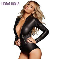 PU Leather Bodysuit  Long Sleeve Front Zipper