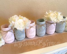 ♥ 3 Baby Pink . 3 Light Gray ♥ Details - Beautiful set of 6 Pint Size Ball (16oz) Mason Jars. Each jars is sealed and adorned with a dainty twine bow. Flowers not included. Dimensions - 5.13 in tall x 3.38 inches wide. CARE: Wipe clean with damp cloth, do not put in dishwasher or