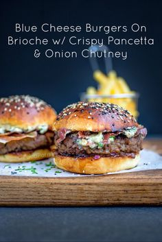 foodpornit: #BlueCheese Burgers On #Brioche W/ Crispy #Pancetta & Onion…