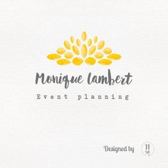 Watercolor logo with flower shape in yellow and grey by 11Left