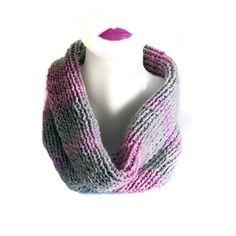 infinity scarf hand knit grey and pink infinity by selenayselenay, $37.00