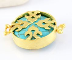 Fretwork Turquoise Stone Connector Matte Gold by ShiShisBoutique, $9.50