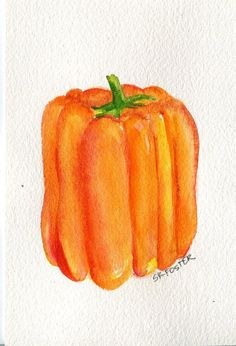 Yellow Orange Bell Pepper Watercolors Paintings by SharonFosterArt