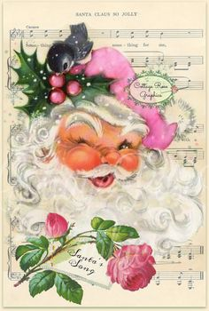 Jolly Pink Santa Shabby Christmas music by CottageRoseGraphics Christmas Scenes, Christmas Music, Christmas Love, Christmas Pictures, Christmas Holidays, Christmas Crafts, Christmas Mantles, Christmas Villages, Christmas Graphics