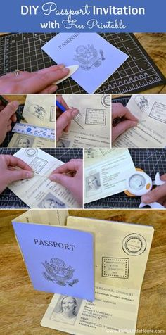 Make a DIY Passport Invitation using my free printable and easy step-by-step directions! Plus, click through for more French Themed Party Decoration ideas, too! | Hello Little Home